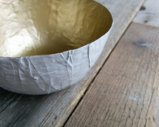 paper mache gold lined bowl