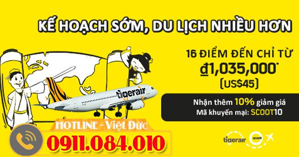 Du lịch nhiều hơn 16 điểm đến cùng vé khuyến mãi Tiger Air
