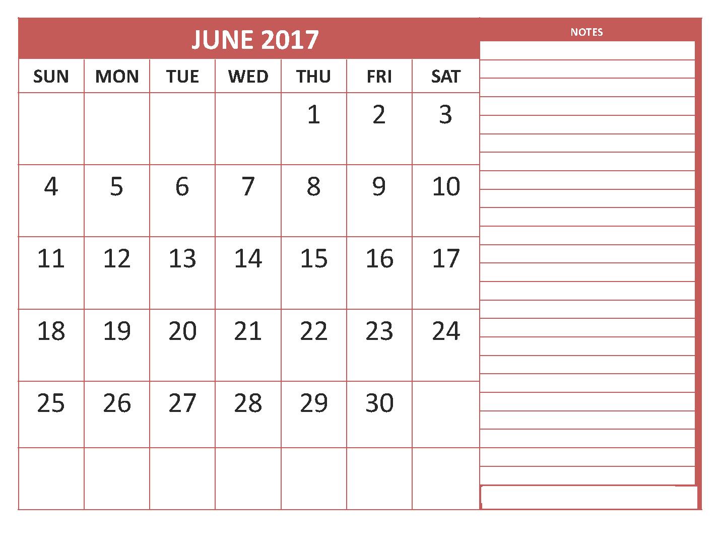 june 2017 calendar printable