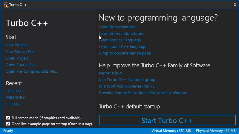 Turbo C++ Dialogue Box
