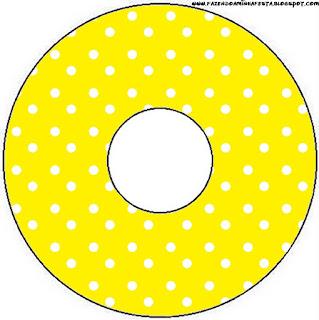 Etiquetas de Rojo, Amarillo y Lunares Blancos para CD's.