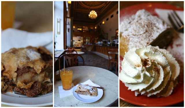 Apple strudel, Prague, Savoy cafe,
