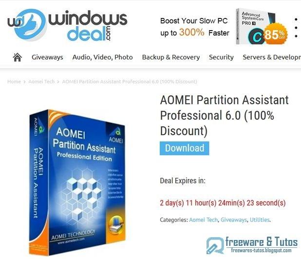 Offre promotionnelle : AOMEI Partition Assistant Pro 6.0 gratuit !