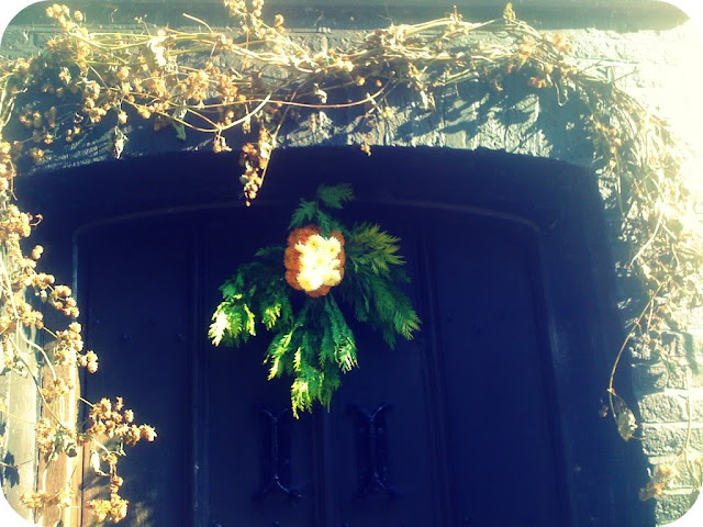Hops decorating a door