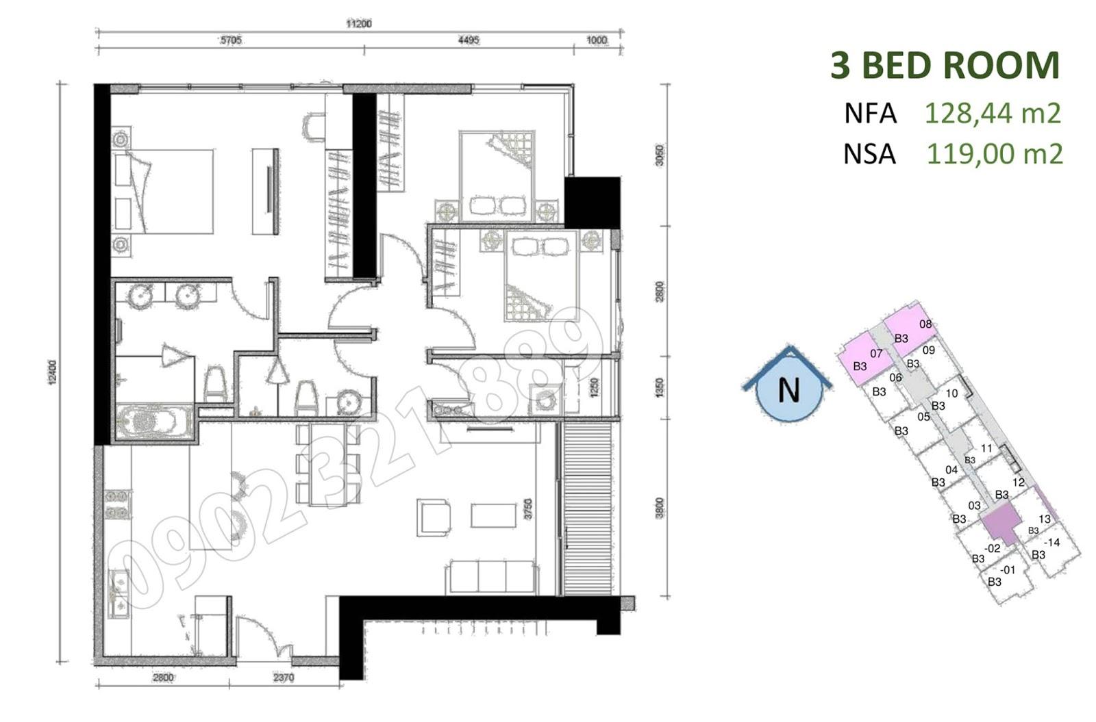 mặt bằng căn hộ sunwah pearl 3 phòng ngủ B3-07 và B3-08