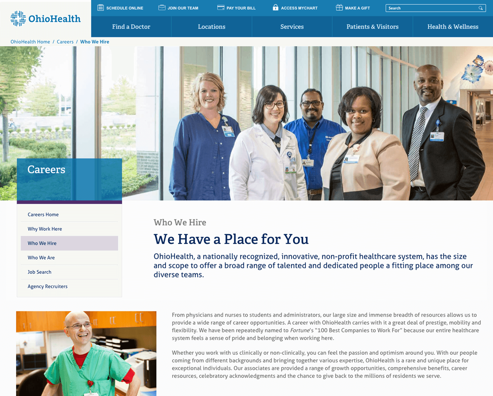 OhioHealth's careers website