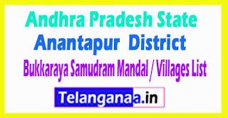 Bukkaraya Samudram Mandal Villages Codes Anantapur District Andhra Pradesh State India