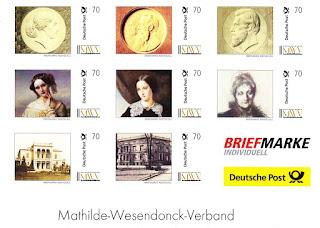 Satz Briefmarke individuell der Deutschen Post zu Ehren von Mathilde Wesendonck