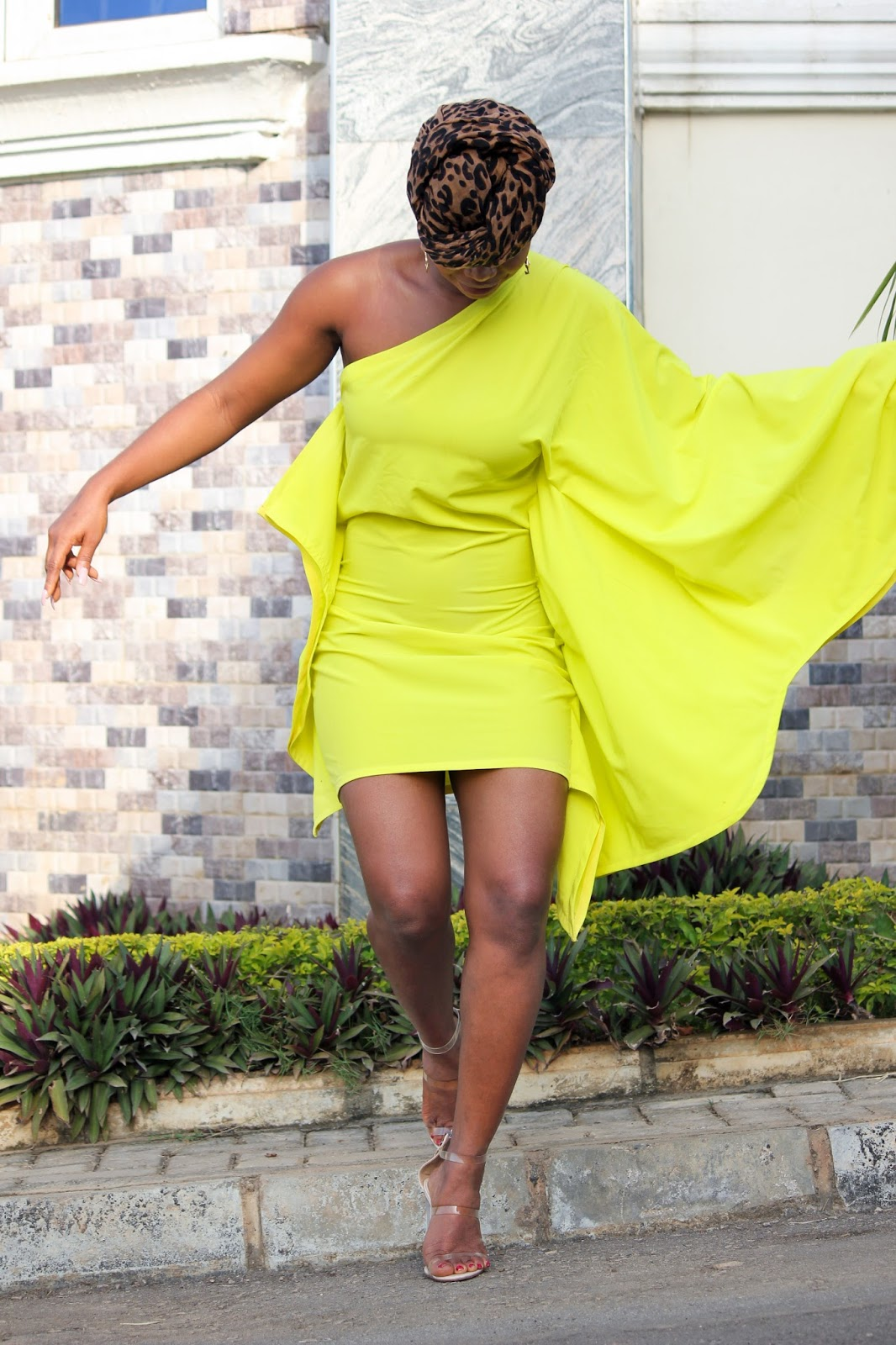 ONE SHOULDER DRESS - One Shoulder Bat-wing Style Dress in Neon from Porshher