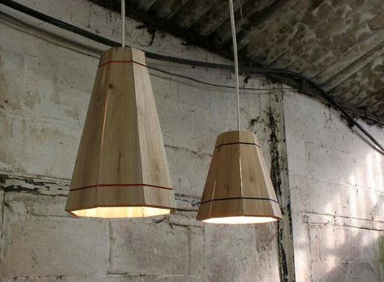 contoh lampu gantung dari kayu kontainer bekas