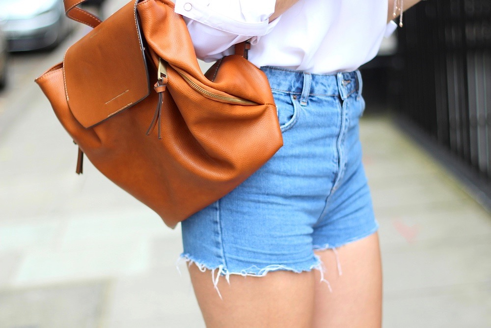 denim shorts city style