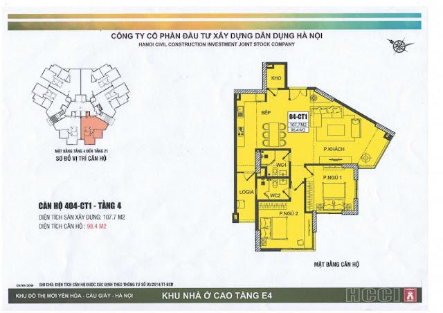 thiết kế căn số 4 tòa ct1 chung cư e4 yên hòa