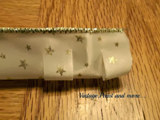 "Vintage, Paint and more... 2"" glittery wired ribbon used to make ribbon cone trees"