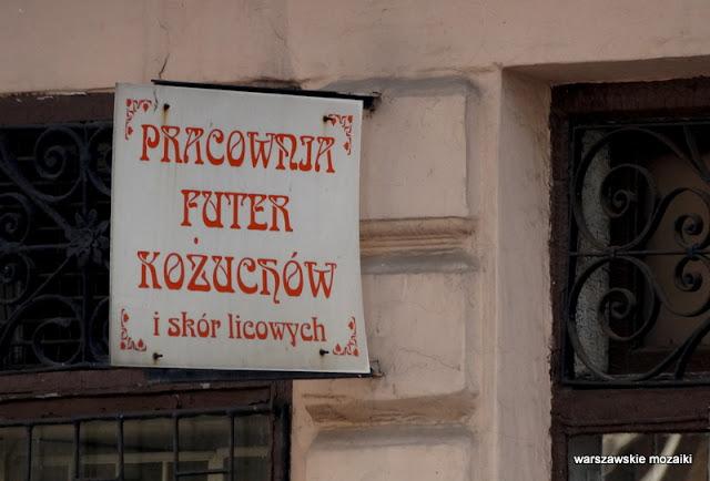 Warszawa Warsaw szyld kożuchy