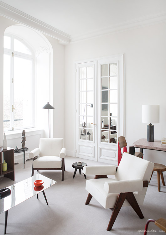 paris apartment interior, jean prouve, mid century furniture, double doors,