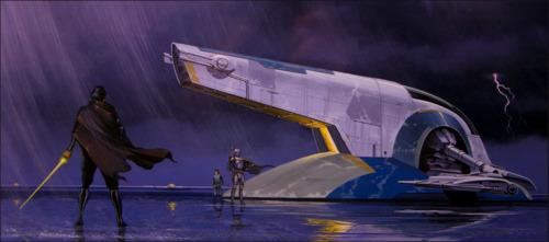 Jango Fett fighting Obi Wan concept art