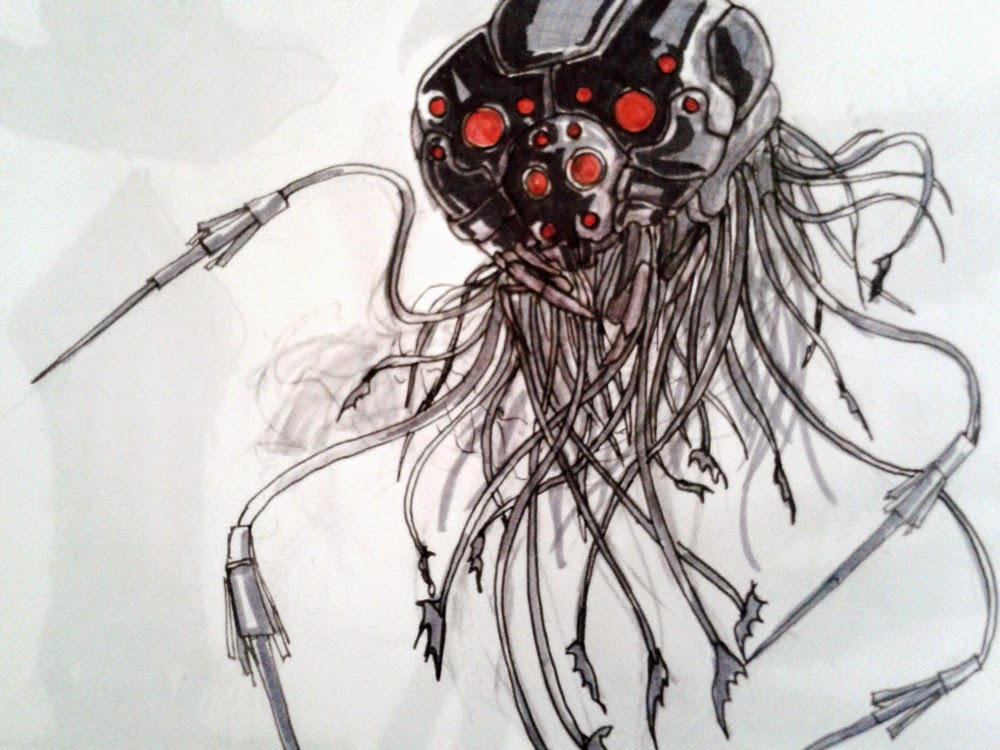 character design, sketchbook, matrix, matrix robot, sentinel, sentinela, sci-fi, robo do matrix, douglas deri, deri, deriart