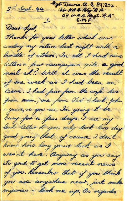 Letter to Syd Pullen from Alec Davis (WW2 1944)
