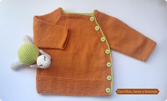 Con hilos, lanas y botones: Chaqueta Puerperium naranja