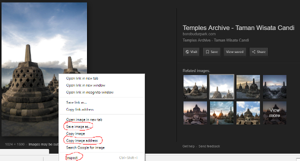 We can still save or view the image form Google image search at their original location even without view image button