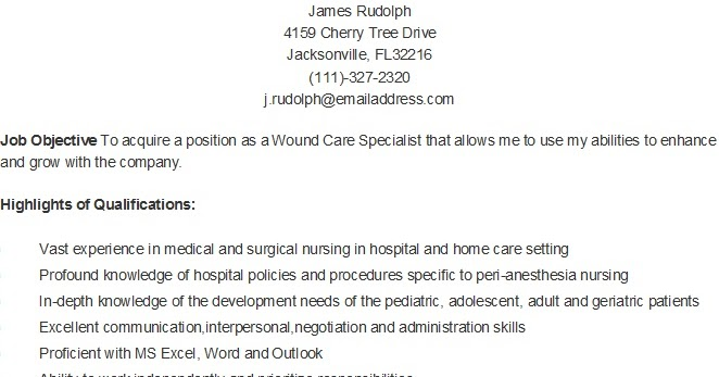 resume samples sample wound care specialist resume