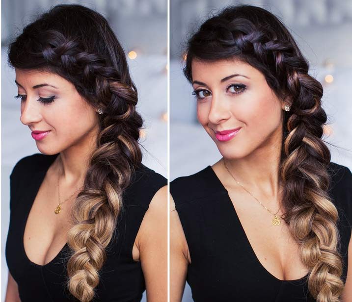 Cute Side Braid Hairstyle With Curly Waves Video Tutorial Muvicut