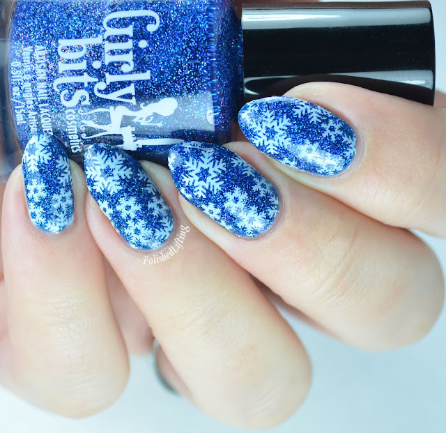 Girly Bits Blue Ribbon Cankles Sinful Colors Snow Me White snowflake stamping nail art