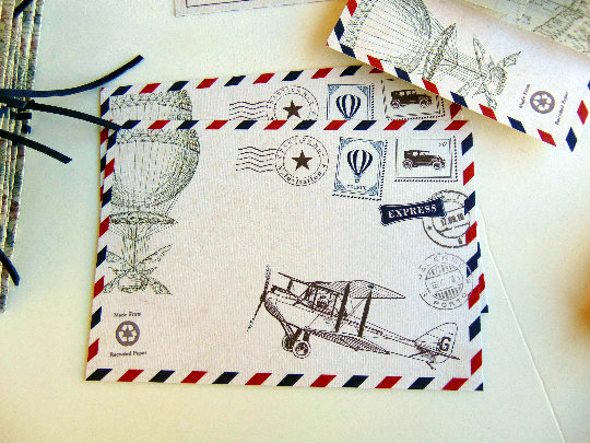 Old map-travelling-Προσκλητήριο βάπτισης postcard