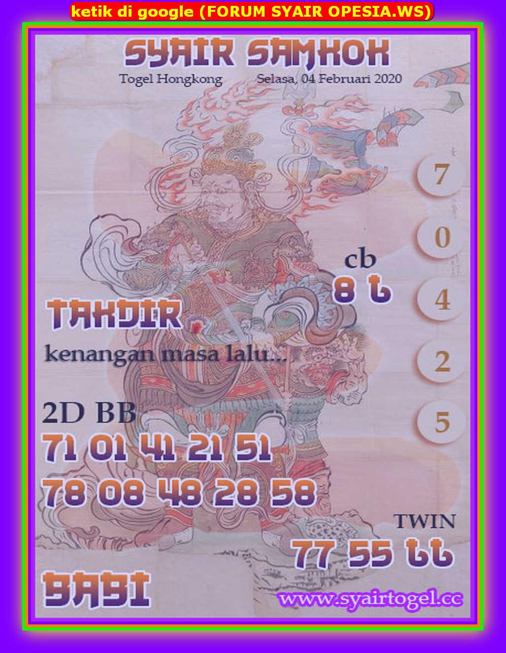 Kode syair Hongkong Selasa 4 Februari 2020 127