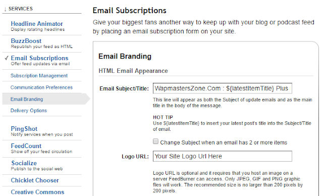 How to Change FeedBurner Email Subject Title
