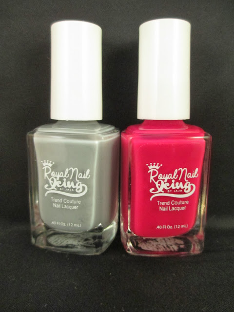 Royal Nail Icing, Sweet Concrete, Strawberry Lava, grey, creme, fuchsia, pink, crelly, nail polish, indie, indie brand