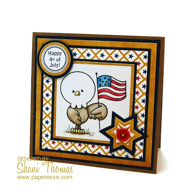 4th of July card with Patriotic Eagle 2 Cute Ink digital stamp, by Paperesse.