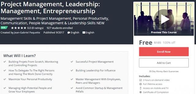 [100% Off] Project Management, Leadership: Management, Entrepreneurship| Worth 185$