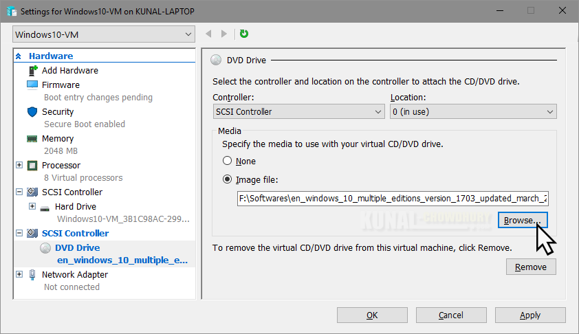 Attach a ISO-DVD image to the Virtual DVD drive (www.kunal-chowdhury.com)