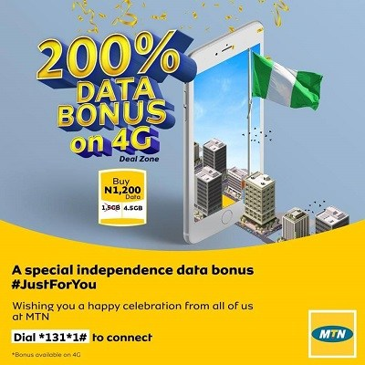 MTN Introduced 4.5GB For N1200 For Independence Celebration