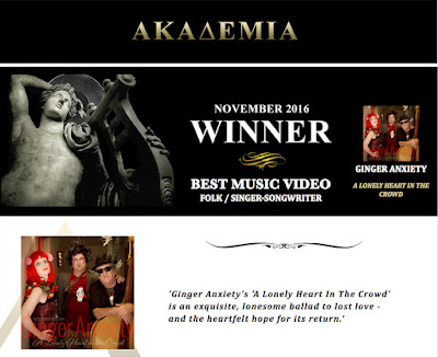 A Lonely Heart in the Crowd wins Akademia's Best Folk / Singer-Songwriter Music Video