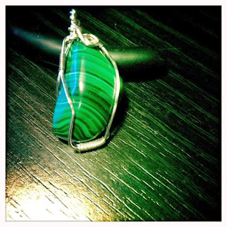 Malachite pendant (wire-wrapped in Sterling Silver)