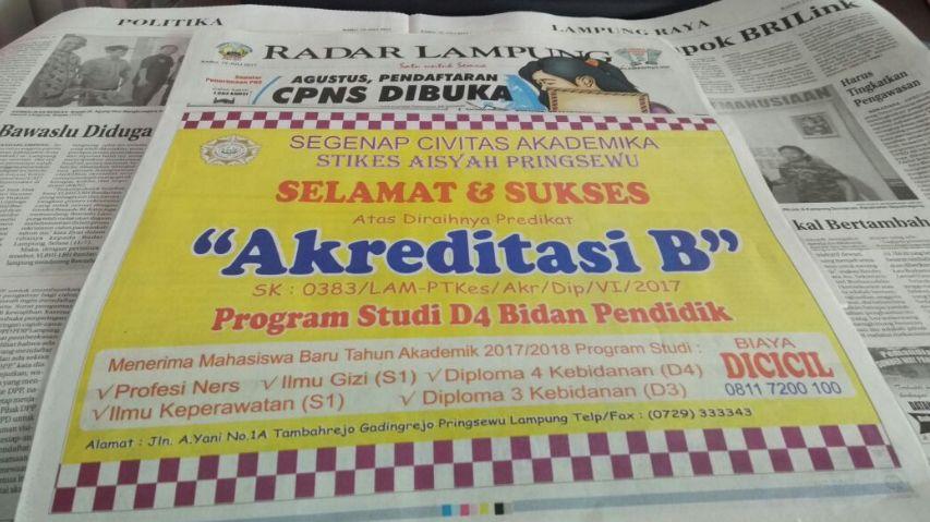 Akreditasi B Prodi D4 Bidan STIKes Aisyah Pringsewu Lampung