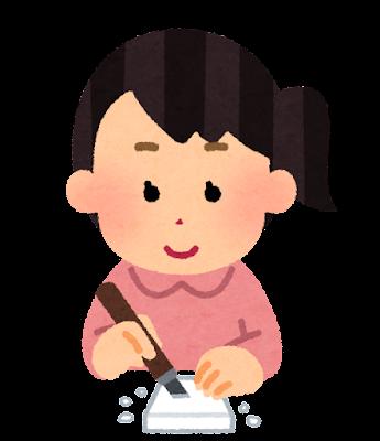 消しゴムはんこを作る人のイラスト(女性)