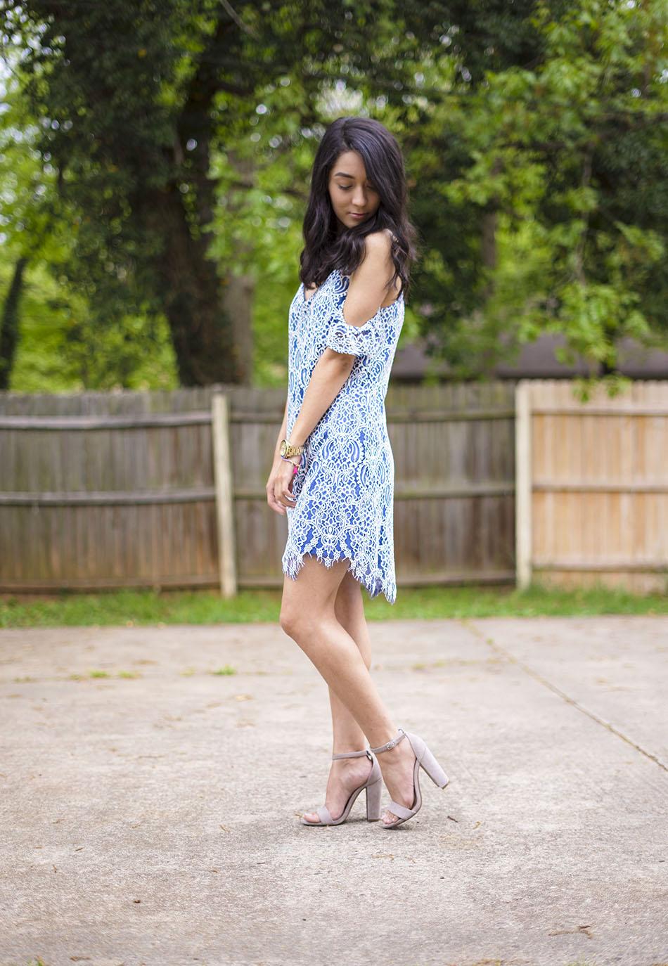 blue white cold shoulder lace dress, carrson sandals