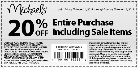 michaels 20 off entire purchase coupon december 2019
