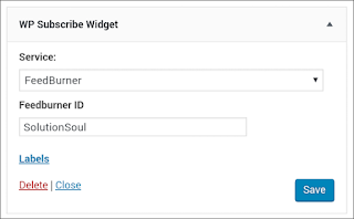 Add wp subscribe plugin in wordpress blog then fill feed service and feed Address