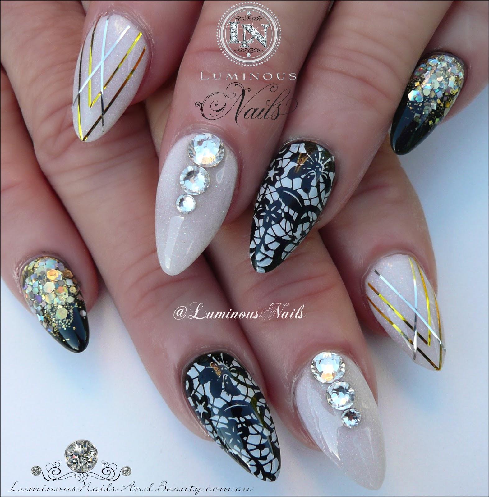 Luminous Nails Black White Gold Acrylic Nails