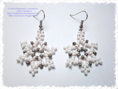 Snowflake earrings out of seed beads