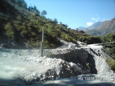 Landslide hit road area in the Garhwal Himalayas during the Char Dham Yatra