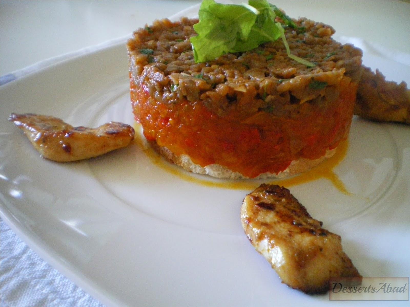 Caviar de berenjena con chutney de tomate