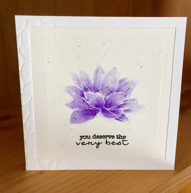 Altenew Lotus stamp set; My Favorite Things Delicate Pretty Poppies sentiment