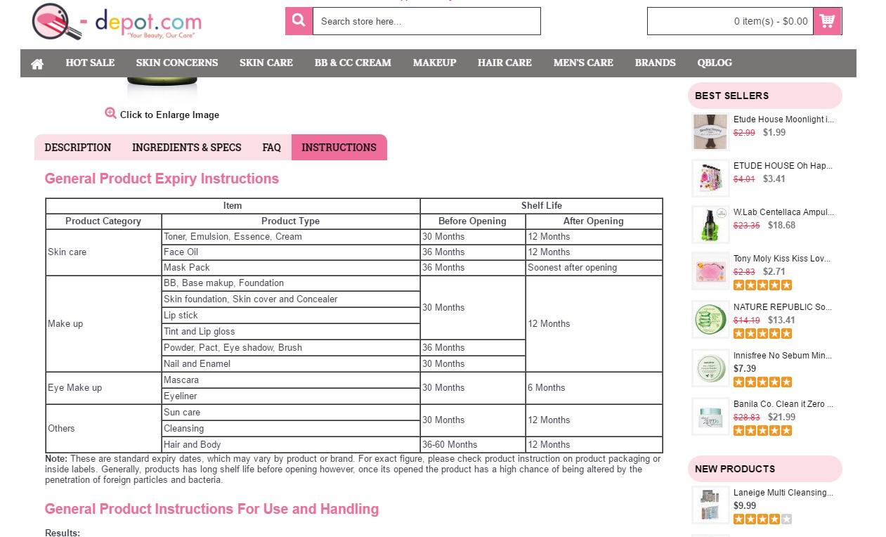 Korean Skincare, Korean cosmetics, Q-depot Korean cosmetics online shop