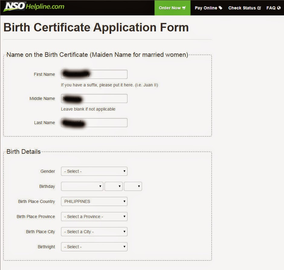 Birth Certificate Fill In: Requesting For A Birth Certificate At NSOHelpline.com