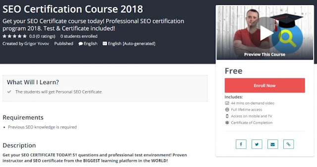 [100% Free] SEO Certification Course 2018